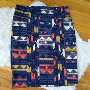 Blue Southwestern Print Cassie Pencil Skirt SizeXL